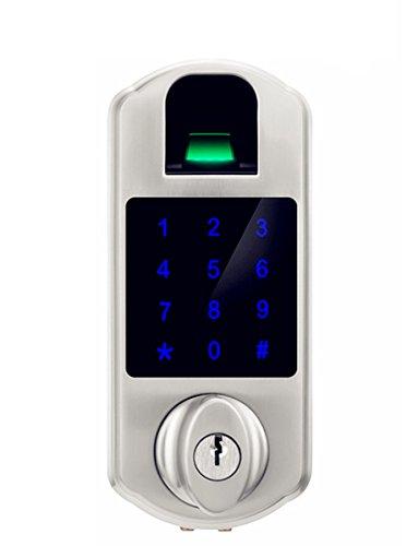 Ardwolf D5S Fingerprint Touchscreen Keypad Deadbolt, Satin Nickel by Ardwolf