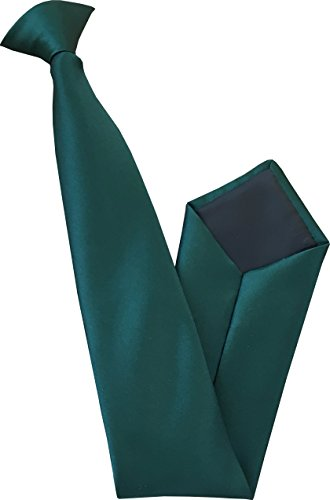 Bridas de satén para hombre, Verde botella, Clip On Tie Length: 20 inches