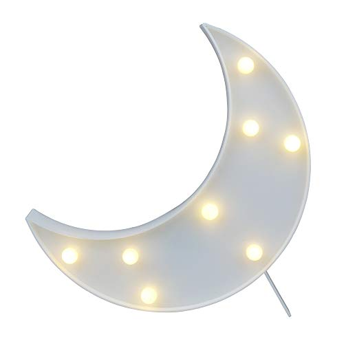 DELICORE Decorative LED Crescent Moon Marquee Sign - MOON Marquee Letters LED Lights - Nursery Night Lamp GIFT for Children (White) by DELICORE