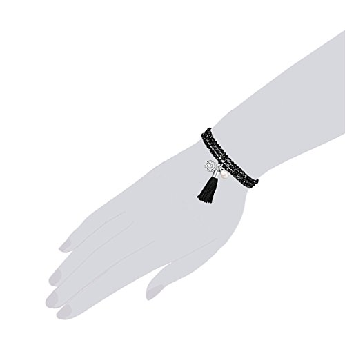 Chakra Pearls Bracelet Noir/blanc 63cm