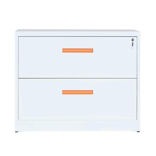 ModernLuxe Metal Lateral File Cabinet with Lock (Orange-White, 35.4W×28.4H×17.7D: -