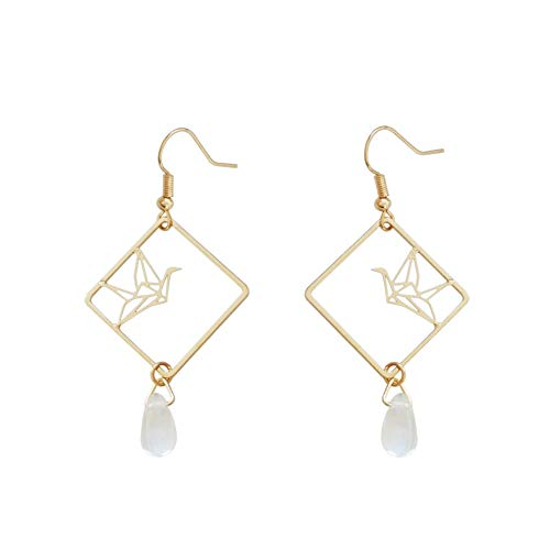 18K Gold Plated Simple Hollow Out Paper Cranes Water Droplets Pendant Dangle Hook Earrings For Women Girls by FURONGWANG (Image #6)