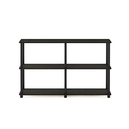 Furinno 99634EX/BK Turn-N-Tube 3-Tier Double Size Storage Display Rack, Espresso/Black (Long Sale Dresser Wood For)