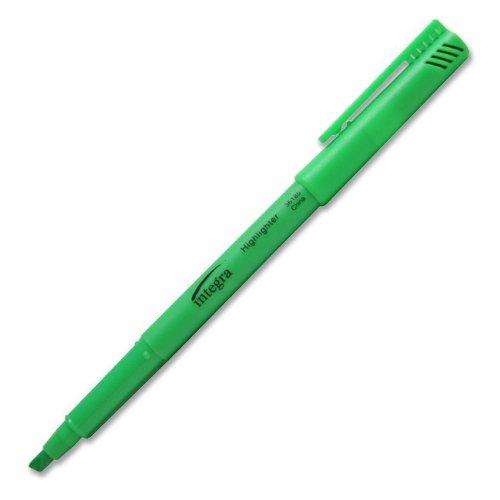Integra Pen Style Highlighter, Chisel Point, Fluorescent Green (ITA36185)