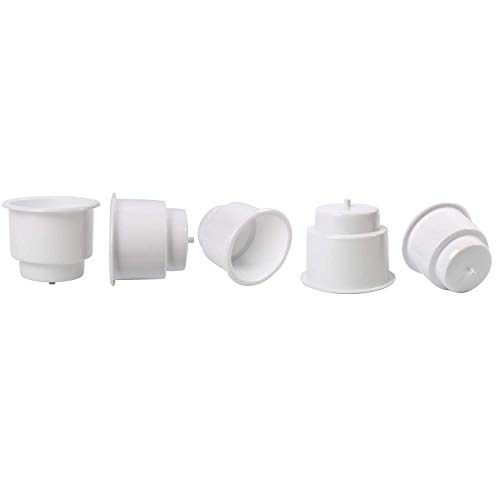 (Amarine Made (Set of 5) White Recessed Drop in Plastic Cup Drink Can Holder with Drain for Boat Car Marine Rv)