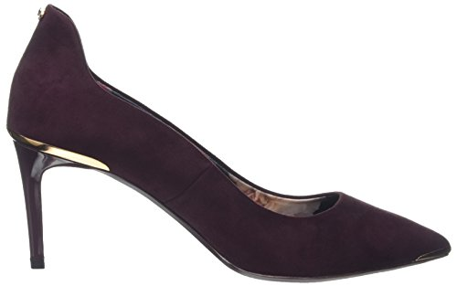Tacón Zapatos para Baker de Vyixin Cerrada Punta Burgundy Mujer Rojo con Ted RHTw4Inqf
