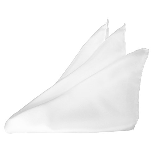 "White Silk Tuxedo Pocket Square with Hand-rolled Edges by ROYAL SILK - 17"" Square"