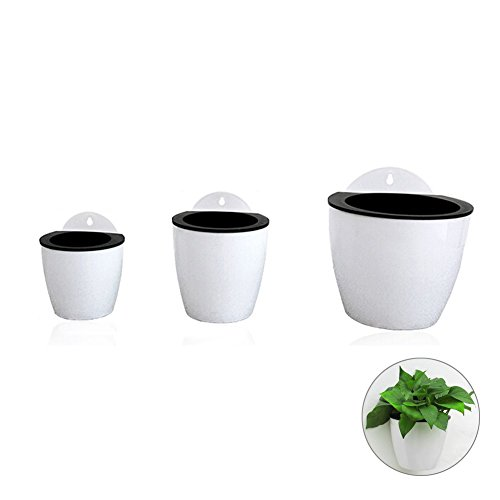 Rely2016 Self Watering Hanging Flower Planter Pots Plant Pot Flowerpot, Round Shape Wall Mounted Plastic Indoor Outdoor Flowerpots Equipped with Removable Basket and Cotton Rope (110# + 130# + 190#)