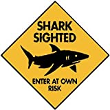 Shark Sighted - Enter At Own Risk Aluminum Sign