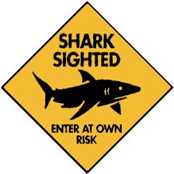 Amazon Com Warning Shark Sighted Aluminum Sign 6 X 6