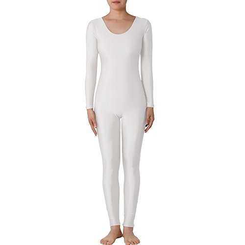 [Muka Scoop Neck Long Sleeve Unitard Lycra Zentai Bodysuit Catsuit Dancewear - White,XL] (Morph Suit Costumes Ideas)