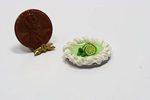 Bright Delights Dollhouse Miniature Key Lime Pie with Fresh Whipped Cream by