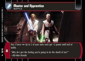 STAR WARS TCG ATTACK OF THE CLONES FOIL MASTER AND APPRENTICE (Apprentice Foil)