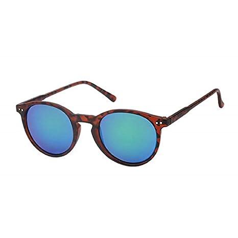 Sonnenbrille Round Glasses Retro Panto 400UV verspiegelt Pünktchen schwarz 2N1bsv
