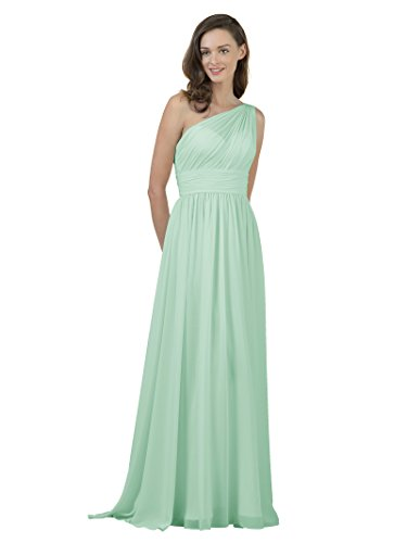 Long Mint (Alicepub One Shoulder Bridesmaid Dress for Women Long Evening Party Gown Maxi, Mint Green, US4)