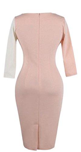 3 Dress Pencil Color Wear Sleeve to Jaycargogo Short Block Women's Work qxv464z