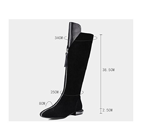 wdjjjnnnv Casual Long Warm knee-boots Low heels Front zip Stovepipe Bootie Scrubs Leather Women's Fashionable Boots Shoes 34 CpDag2fXq
