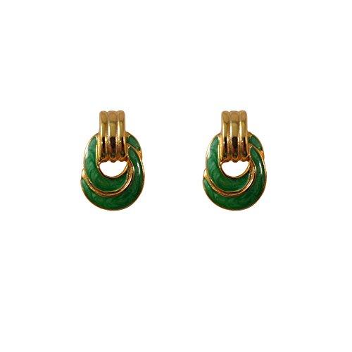Enamel Knot Stud Earrings, Door Knocker Hoop Pierced Post Stud Earrings (Door Knocker Pierced Earrings)