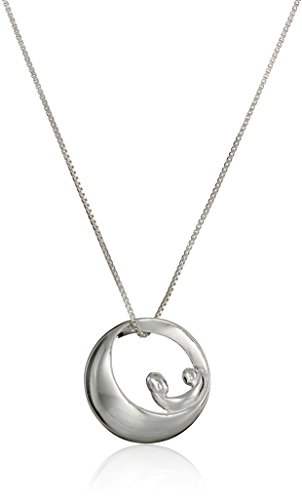 "Sterling Silver Mobius Circle with Mother Child ""Mother Daughter Forever"" Pendant Necklace, 18"""