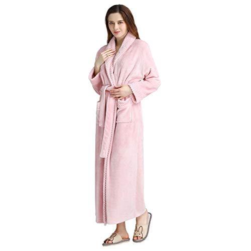 (Long Bath Robe for Womens Plush Soft Fleece Bathrobes Nightgown Ladies Pajamas Sleepwear Housecoat Pink)