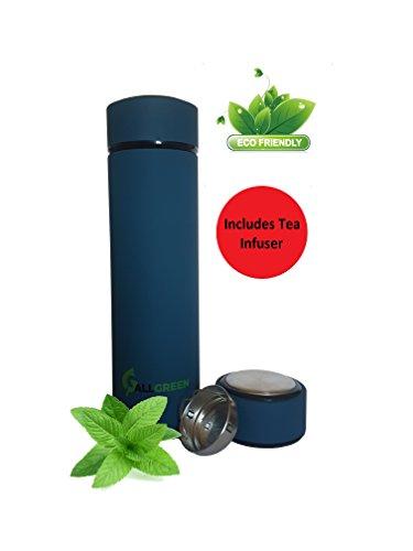 Eco friendly Water Thermos 16.8oz - Coffee Travel Mug - Tea Infuser - Double Walled Leak proof Metal bottle 500ml[BLUE]