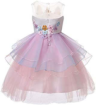 R-Cloud Girls Flower Unicorn Costume Pageant Princess Dress Up Cosplay Birthday Party Dress