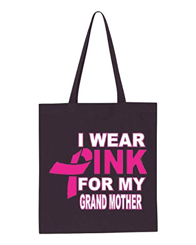 (I Wear Pink My Grandmother Breast Cancer Awareness Tote Handbags Bags for Work School Grocery Travel)