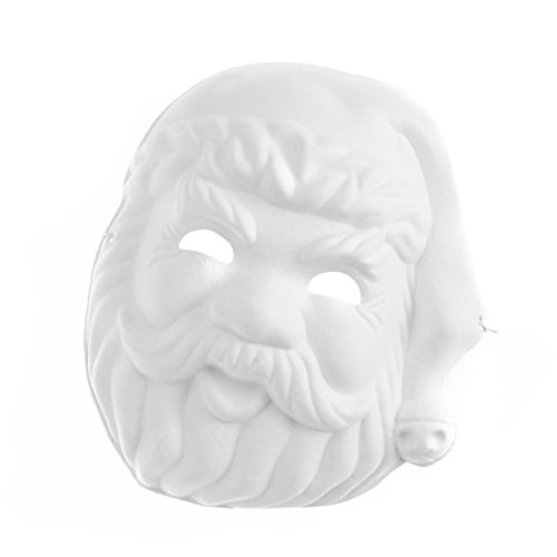 Amosfun Santa Clause Mask Painting Mask Full Face Costume Pulp Blank White Mask for DIY Paint Halloween Party Mask