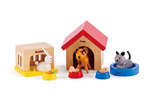 Hape Family Pets Wooden Doll House Animals (Best Wooden Dollhouse For Toddler)