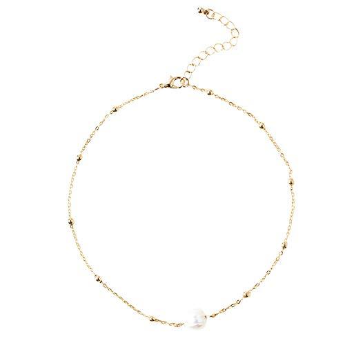 Goddesslili Pearl Necklace, Gorgeous 7 mm Freshwater Choker for Women Girlfriend Girls Ladies Retro Wedding Engagement Anniversary Luxury Jewelry Gift Under 5 Dollars ()