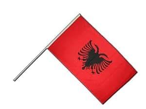Stock Bandera/Stock Flaggenfritze–Bandera Albania + Gratis Pegatinas,, Große Stockflagge 60 x 90 cm