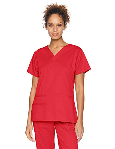 Amazon Essentials Women's Quick-Dry Stretch Scrub Top, Red, XX-Large