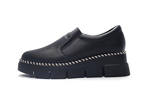 Balamasa Donna Treccia Elastico In Tinta Unita Con Tacco Fondo Alto In Pelle Imitato Pumps-shoes Nero