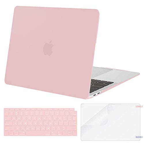 MOSISO MacBook Air 13 inch Case 2020 2019 2018 Release A2337 M1 A2179 A1932, Corner Protective Plastic Hard Shell&Keyboard Cover&Screen Protector Compatible with MacBook Air 13 inch Retina, Baby Pink