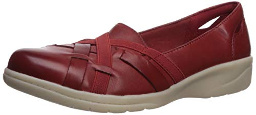 CLARKS Women's Cheyn Creek Loafer, red Leather, 100 M US (Best Casual Shoes For Flat Feet)
