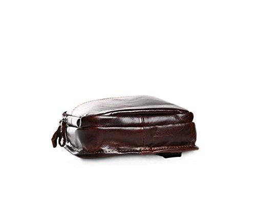 Resistentes Autentico y 1 de Bolsos Mochila Bolsa Hombro 1 Bandolera Hombre Bolso 16x6x32cm Pecho Cuero Pequeña de Bolsos Piel Sucastle RBa01q