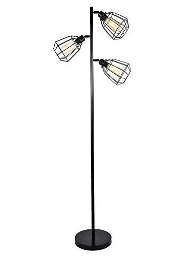 LEONLITE 65inch Track Tree Floor Lamp, 3-Head Torchiere Lamp Fixture, 3 Bulbs Included, Rustic Floor Lamp Industrial (Light Fixtures Adjustable Lamps)
