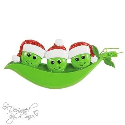 (DesignedByCassi Personalized Christmas Ornament Pea Family of 3/ Friends/Pea Pod/Coworkers Custom)
