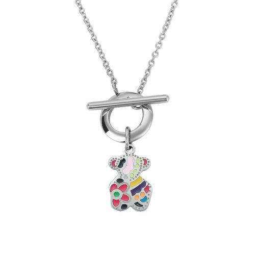 (wanmanee Cute Small Teddy Bear Sterling Silver Colorful Pendant Stylish Chain Necklace)