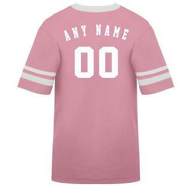 カスタマイズ名前/ Number On Back )ポリ/コットンアスレチックスポーツストライプスリーブジャージー/シャツサッカー、フットボール、カジュアル、学校。。。。21色、子供/大人サイズ8。 B00FL4RLXY Large Pink/White Sleeves Pink/White Sleeves Large