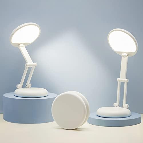 ONEFIRE LED Desk Lamp, Small Desk Lamp with USB Charging, White Desk Lamp +8 Brightness, Portable Kids Desk Lamp, Foldable Desk Lamps for Home, Cute Desk Lamp Rechargeable LED Desk Light Desk Lamps