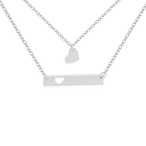 MANZHEN Double Layer Horizontal Bar Necklace with Cutout Heart Mommy and Me Mother Daughter Necklace (Silver)