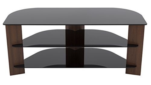 AVF FS1100VARWB-A Varano TV Stand with Glass Shelves for TVs up to 55-Inch, Walnut and Black Glass by AVF
