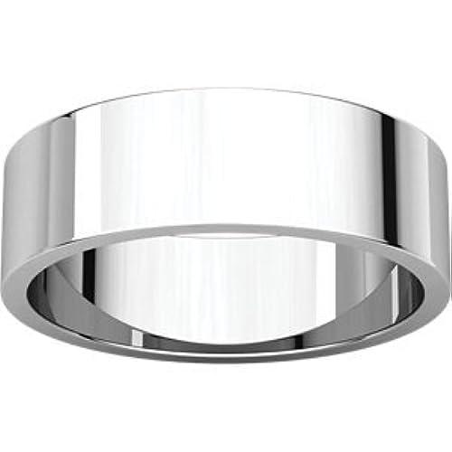 STU001- 14K White 6mm Flat Band