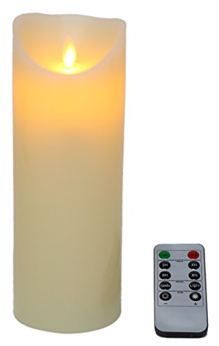 Flameless Candle - LED Pillar Candle, Battery Operated Real Wax Candle with Remote Control, Ivory, 7 Inches