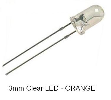 Leds 3mm T1 (NightFire - 3mm Clear ORANGE LEDs (100 pieces) with Resistors)