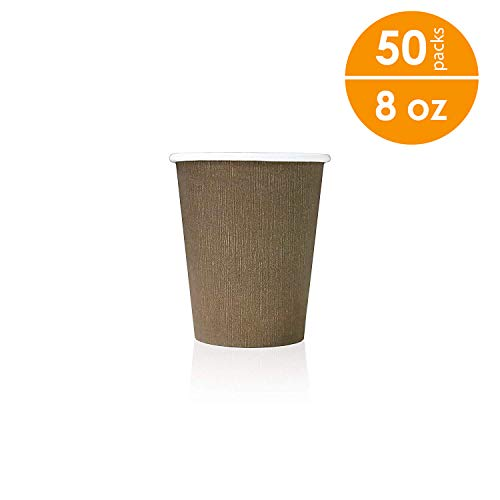 - ARI 8 oz Paper Cups, 50 Pcs in One Pack, Eco-Friendly Sturdy Disposable Hot and Cold Beverages Cups, Coffee Cups, By New Brand