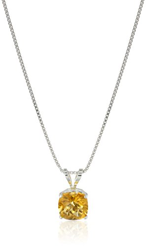 Citrine Cushion Necklace - Sterling Silver Cushion Checkerboard Cut Citrine Pendant Necklace (6mm)