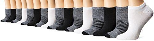 Hanes Women's 16-Pack Sport Sock Bundle, Black/Gray/White, 5-9 (Pack of 16)