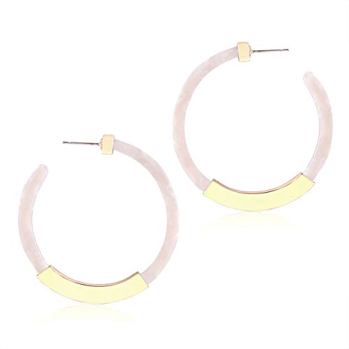 XOCARTIGE Hoop Earrings for Women Statement Resin Acrylic Earrings Mottled Circle Dangle Earrings Bohemia Stud Earring for Girls (B White)